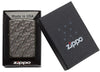 Armor Geometric Weave High Polish Black Ice Windproof Lighter in packaging