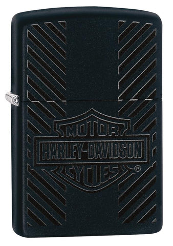 Harley-Davidson® Classic Logo Black Matte Windproof Lighter facing forward at a 3/4 angle