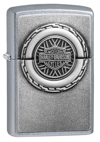 Harley-Davidson® Engine Surprise Emblem Street Chrome Lighter facing forward at a 3/4 angle