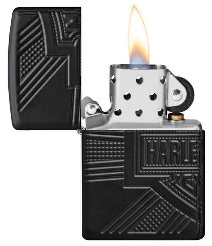 Harley-Davidson® 2020 Collectible Windproof Lighter with its lid open and lit