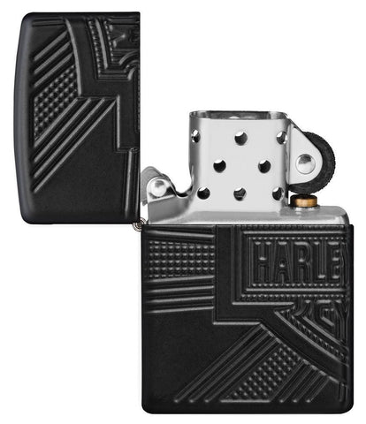 Harley-Davidson® 2020 Collectible Windproof Lighter with its lid open and not lit
