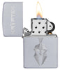Kryptek Satin Chrome windproof lighter with its lid open and lit
