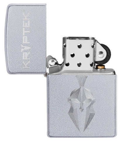 Kryptek Satin Chrome windproof lighter with its lid open and not lit