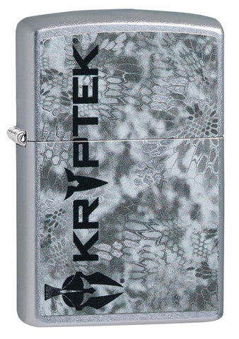 Kryptek Street Chrome windproof lighter facing forward at a 3/4 angle