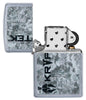 Kryptek Street Chrome windproof lighter with its lid open and not lit