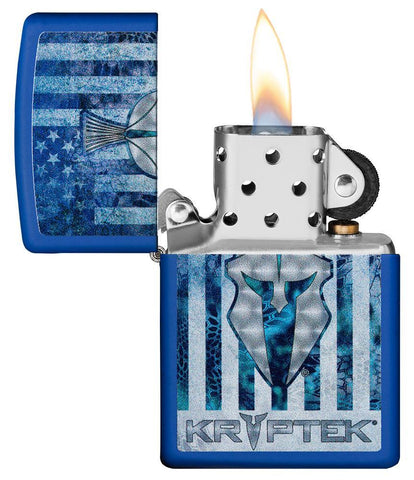 Kryptek Royal Blue Matte windproof lighter with its lid open and lit