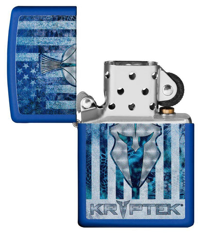 Kryptek Royal Blue Matte windproof lighter with its lid open and not lit