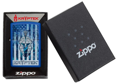 Kryptek Royal Blue Matte windproof lighter in packaging