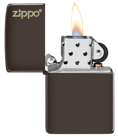 Brown Zippo Logo windproof lighter with the lid open and lit