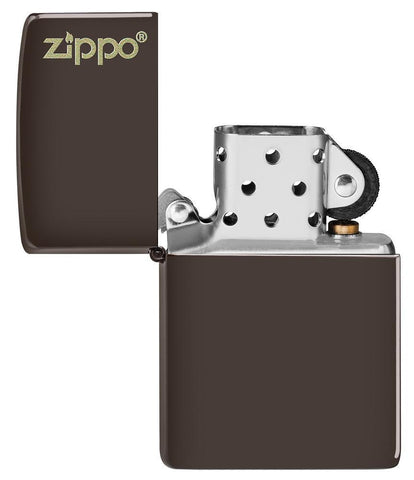 Brown Zippo Logo windproof lighter with the lid open and not lit