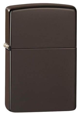 Brown windproof lighter facing forward at a 3/4 angle