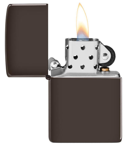 Brown windproof lighter with the lid open and lit