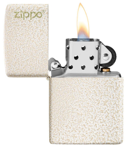 Mercury Glass Zippo Logo windproof lighter with the lid open and lit