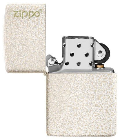 Mercury Glass Zippo Logo windproof lighter with the lid open and not lit