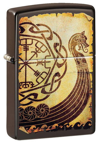 Viking Warship Design Brown Matte Windproof Lighter facing forward at a 3/4 angle