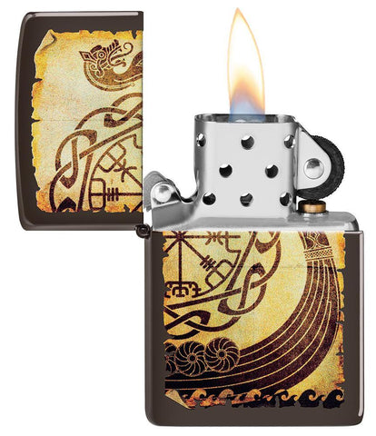 Viking Warship Design Brown Matte Windproof Lighter with its lid open and lit