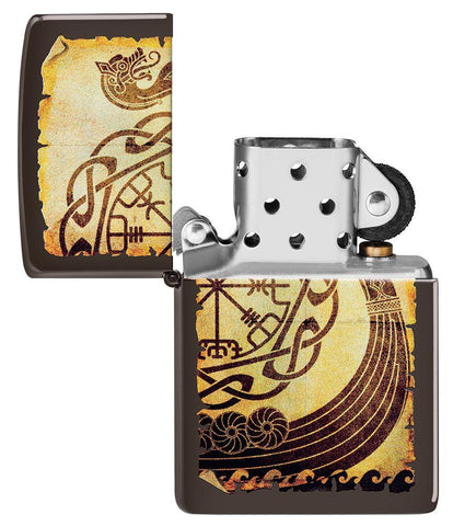 Viking Warship Design Brown Matte Windproof Lighter with its lid open and not lit