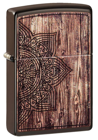 Wood Mandala Design Brown Matte Windproof Lighter facing forward at a 3/4 angle