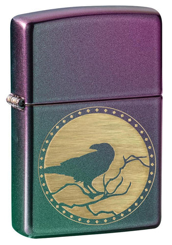 Raven Design Iridescent windproof lighter facing forward at a 3/4 angle