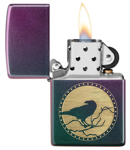 Raven Design Iridescent windproof lighter with its lid open and lit