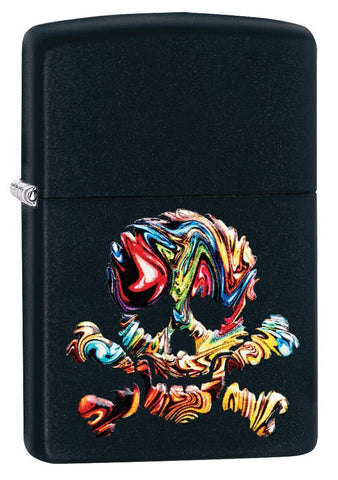 Skull Textured Black Matte windproof lighter facing forward at a 3/4 angle