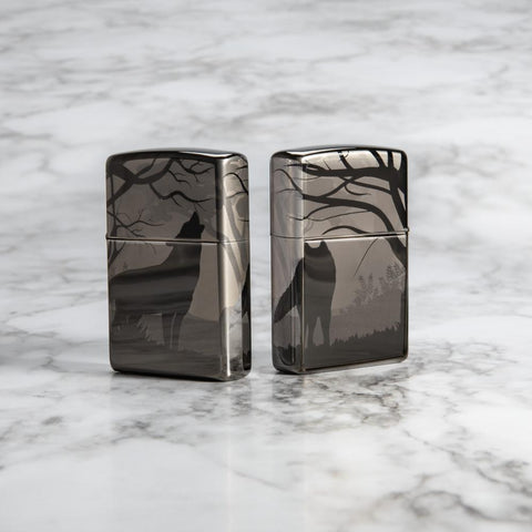 Lifestyle image of Wolves Design Photo Image 360° Black Ice Windproof Lighter standing on a marble surface