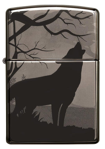 Front of Wolves Design Photo Image 360° Black Ice Windproof Lighter