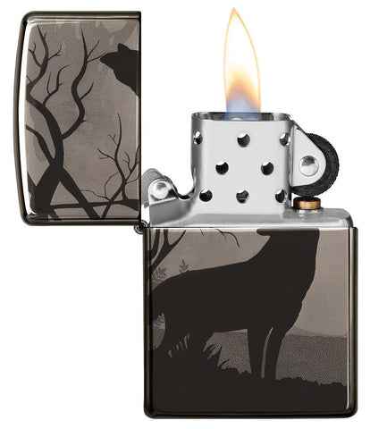 Wolves Design Photo Image 360° Black Ice Windproof Lighter with its lid open and lit
