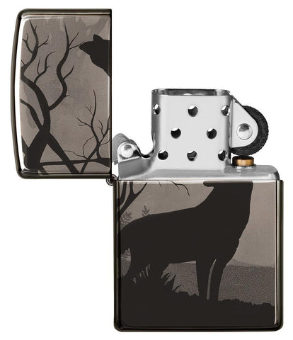 Wolves Design Photo Image 360° Black Ice Windproof Lighter with its lid open and not lit