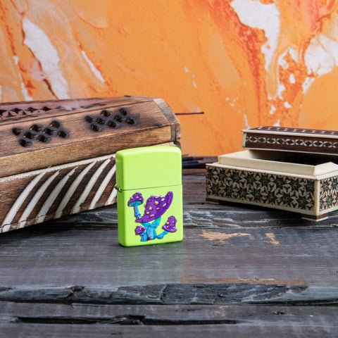 Lifestyle image of Mushroom Textured Print Neon Yellow Windproof Lighter with incense in the background