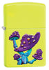 Mushroom Textured Print Neon Yellow Windproof Lighter facing forward at a 3/4 angle