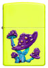 Front of Mushroom Textured Print Neon Yellow Windproof Lighter