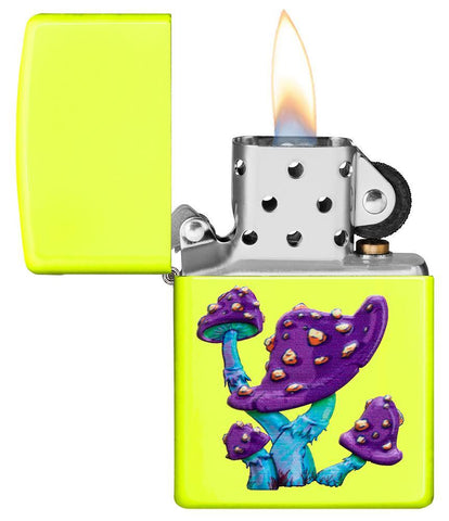 Mushroom Textured Print Neon Yellow Windproof Lighter with its lid open and lit