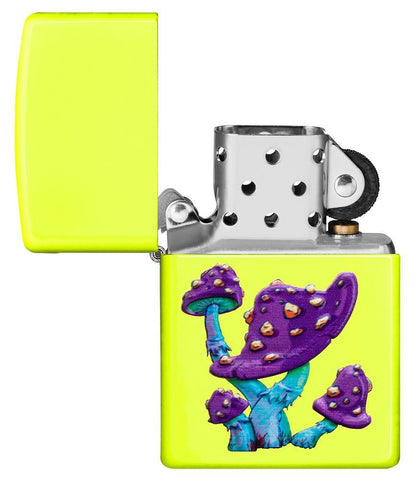 Mushroom Textured Print Neon Yellow Windproof Lighter with its lid open and not lit