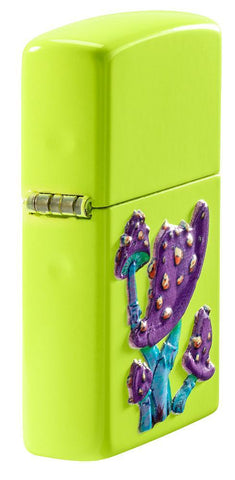 Mushroom Textured Print Neon Yellow Windproof Lighter standing at an angle, showing off the 3D texture print design