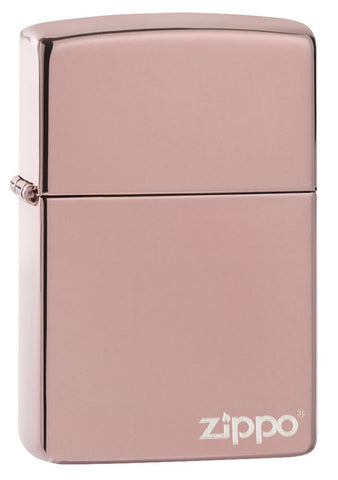 High Polish Rose Gold Zippo Logo windproof lighter facing forward at a 3/4 angle