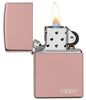 High Polish Rose Gold Zippo Logo windproof lighter with its lid open and lit