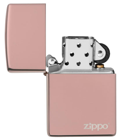 High Polish Rose Gold Zippo Logo windproof lighter with its lid open and not lit
