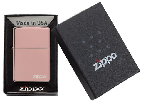 High Polish Rose Gold Zippo Logo windproof lighter in packaging