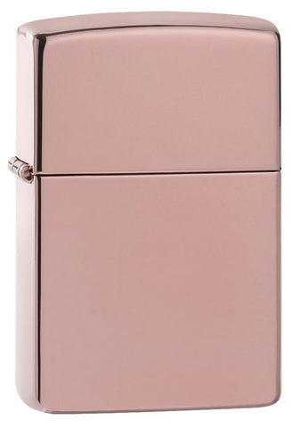 High Polish Rose Gold windproof lighter facing forward at a 3/4 angle