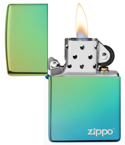 High Polish Teal Zippo Logo windproof lighter with its lid open and lit