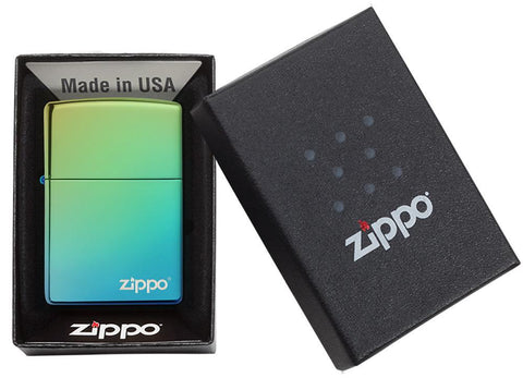 High Polish Teal Zippo Logo windproof lighter in packaging