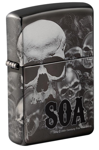 Sons of Anarchy Black Ice 360 design windproof lighter facing forward at a 3/4 angle