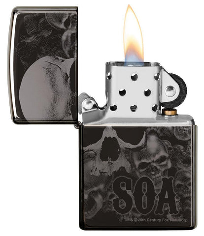 Sons of Anarchy Black Ice 360 design windproof lighter with lid open and lit