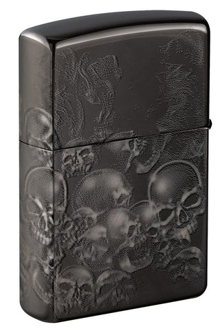 Sons of Anarchy Black Ice 360 design windproof lighter showing back at an angle