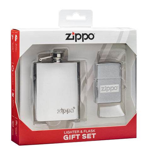 Zippo Design Lighter & Flask Gift Set