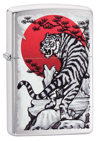 Asian Tiger Brushed Chrome Windproof Lighter standing at a 3/4 angle