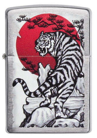 Front of Asian Tiger Brushed Chrome Windproof Lighter