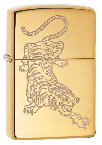 3/4 Angle, High Polish Brass Tiger Design, Lustre Engraved Tiger