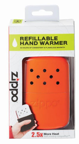 12-Hour Blaze Orange Refillable Hand Warmer in its packaging